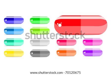 colorful capsule icon set isolated on white background