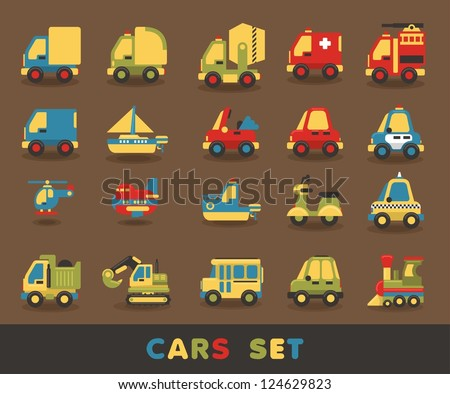 colorful car set, vector elements
