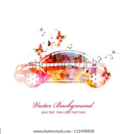 Colorful car with butterflies. Vector
