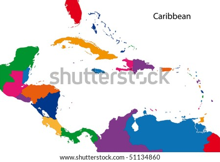 Colorful Caribbean map with countries - stock vector
