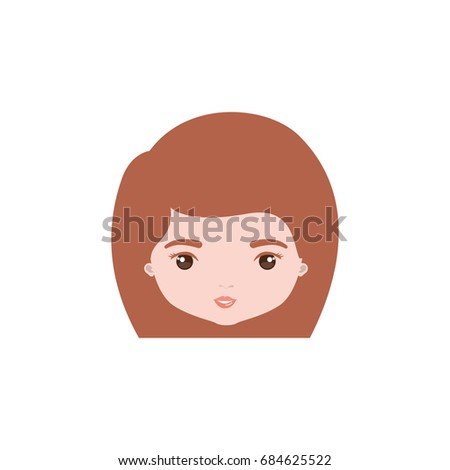 colorful caricature closeup front view face woman with straight