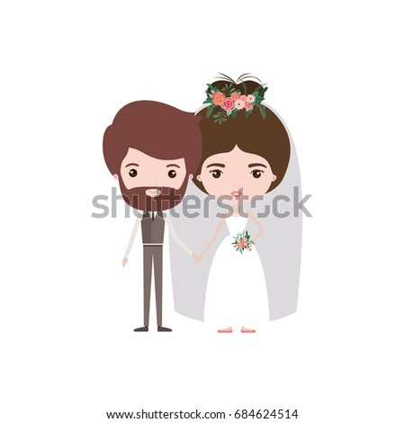 Colorful Caricature Newly Married Couple Bearded Groom With Formal