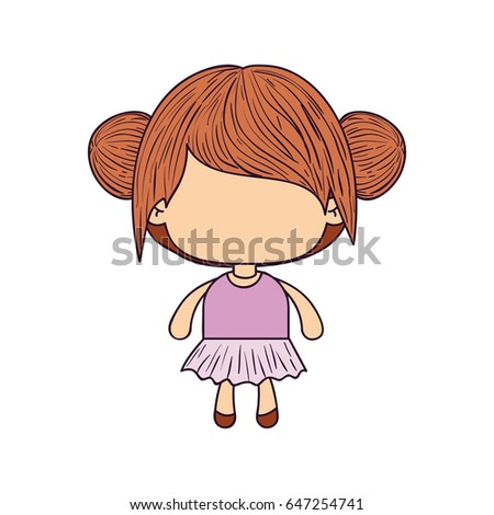 Colorful Caricature Of Faceless Little Girl With Collected Bun Hair