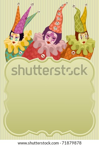 colorful carnival clowns around a light green frame