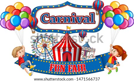 Colorful carnival funfair banner with boy and girl illustration