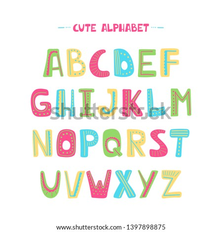 Colorful cartoon alphabet for kids on a white background. Upper letters with dotted line. Cute kids font design for book cover, poster, card, print on baby's clothes, pillow. vector