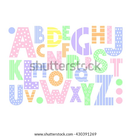 colorful cartoon alphabet on