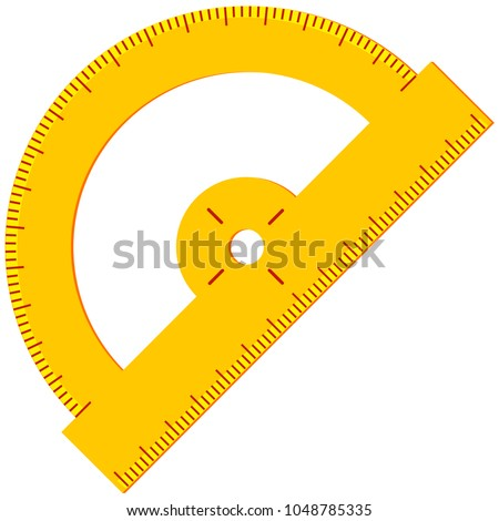 Colorful cartoon angle protractor. Education theme vector illustration for gift card certificate banner sticker, badge, sign, stamp, logo, label, icon, poster, patch, sticker