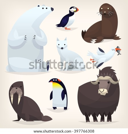 colorful cartoon arctic animals