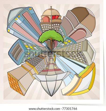 Colorful cartoon building vector, cartoon network styler