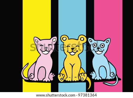 Colorful cartoon cats on bright background.