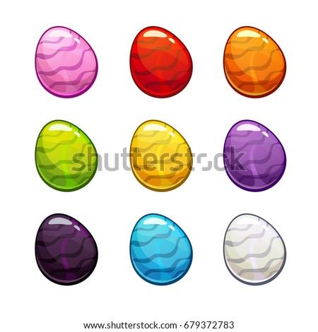 colorful cartoon eggs set