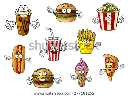 colorful cartoon fast food and
