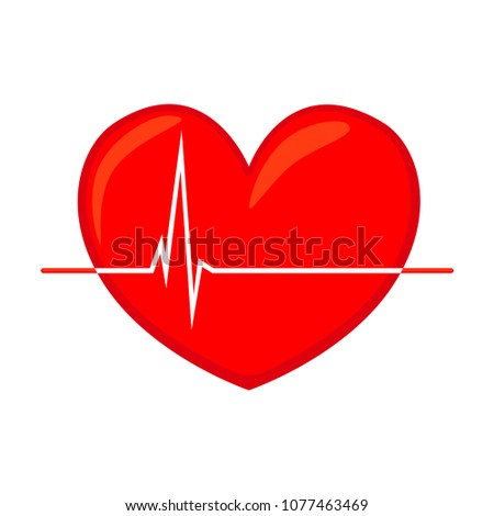 Colorful cartoon healthy heart cardiogram isolated on white background. Healthcare themed vector illustration for icon, sticker, sign, certificate badge, gift card, logo, label, poster, web banner