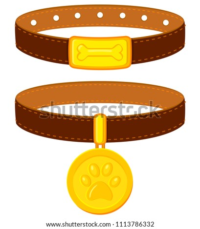 Colorful cartoon pet collar set. Simple supplies for domestic animal. Cat and dog care themed vector illustration for icon, sticker, patch, label, badge, certificate or gift card decoration Foto d'archivio ©