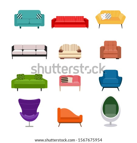 Colorful cartoon sofa, couch and armchair set isolated on white background - flat collection of different types of sofas and chairs for living room, vector illustration