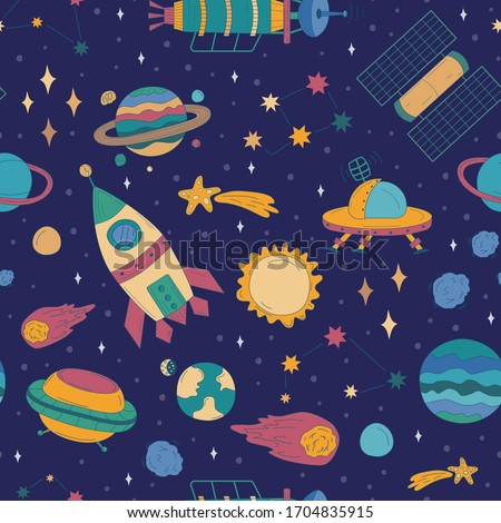 Colorful cartoon space background with rocket, different planets, alien spaceship, ufo, stars and asteroids which fly in outer space through universe. Cosmic seamless vector pattern in sketch style.