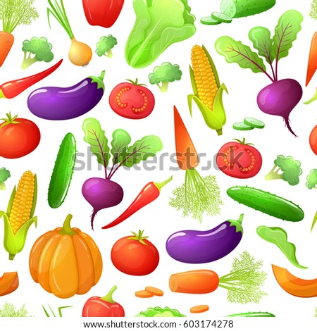 Colorful cartoon style seamless pattern of vegetables . Eco organic fresh template with vegetables for the decoration of menu. Vector. #603174278