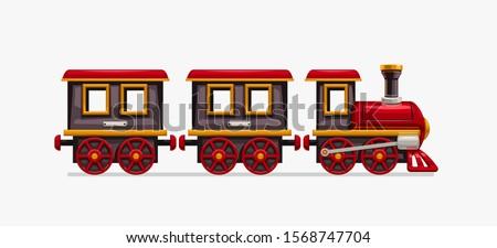 colorful cartoon train on white