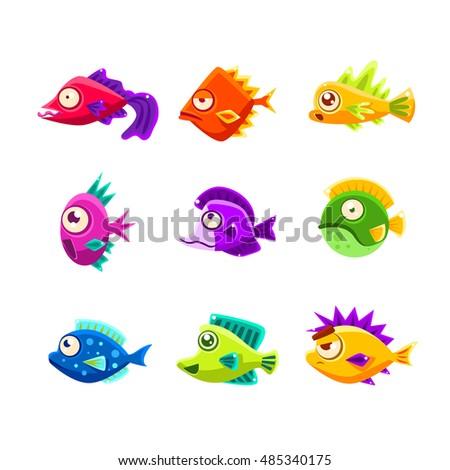 colorful cartoon tropical fish