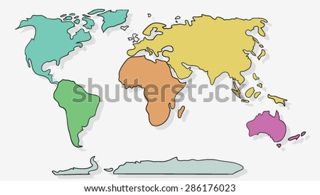 Cartoon Map Download Free Vector Art Stock Graphics Images - World map uncolored