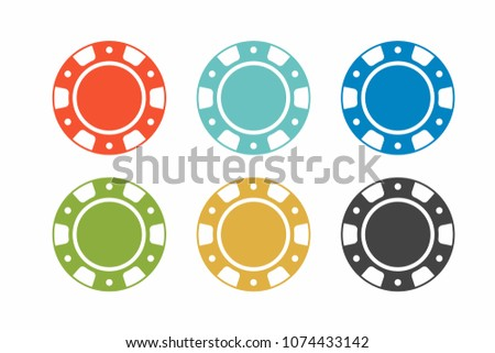 colorful casino chips on white