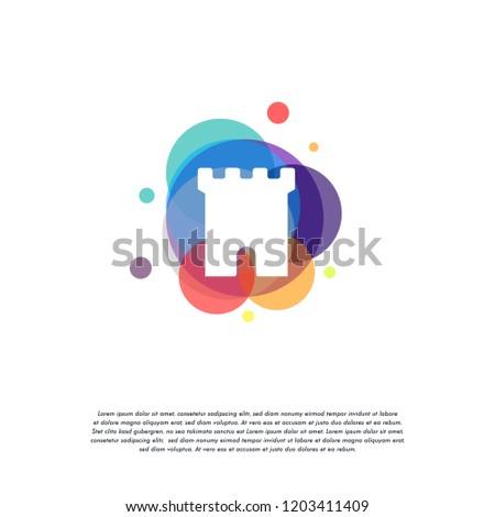 colorful castle logo vector