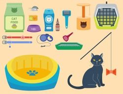 Colorful cat accessory, cute vector animal icons, pet equipment food domestic feline illustration.