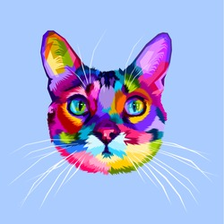 colorful cat head icon on pop art style
