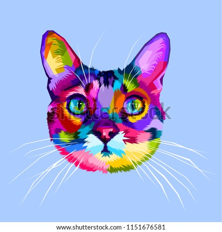 colorful cat head icon on pop