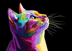colorful cat isolated on black background. vector illustration.