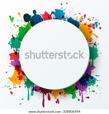 Colorful celebration background with splash paints and place for text. Vector Illustration.