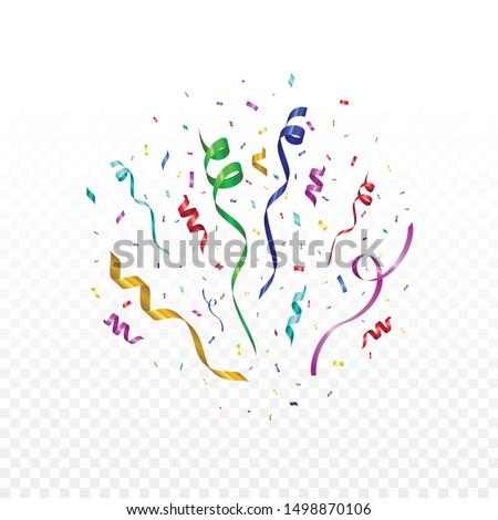 Colorful celebration confetti and streamer ribbon. Festive illustration for holiday design.