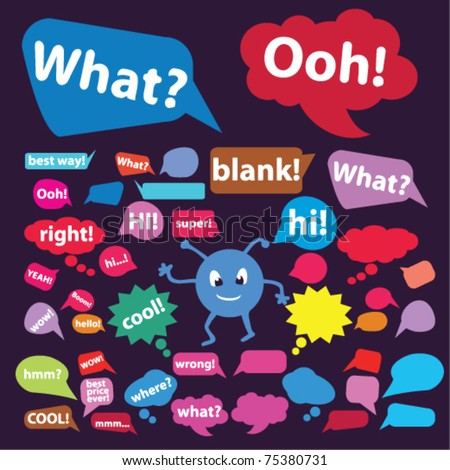 colorful chat, idea, speech, thought signs, bubbles, icons, vector illustrations