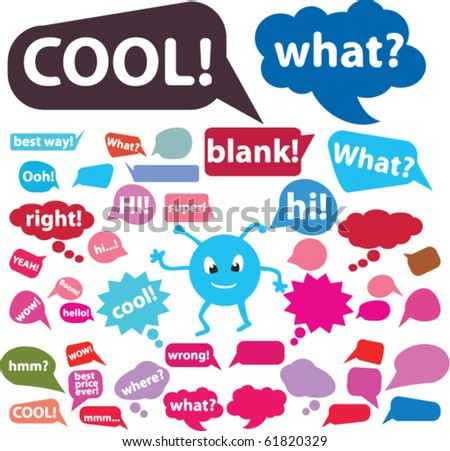 colorful chat signs. vector - stock vector