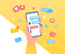 Colorful Chatting concept Hand holds a smartphone. Icons, text messages, messages, notifications fly out of the screen. Communication and conversation by phone Easily edit or overlay additional items