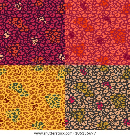 Colorful Cheetah Print Seamless Pattern Set. Vector Animal Background