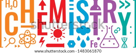 colorful chemistry word and chemistry symbols design