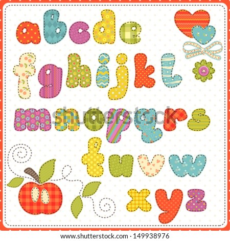 Colorful children alphabet of small letters.