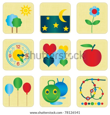Colorful children icons set