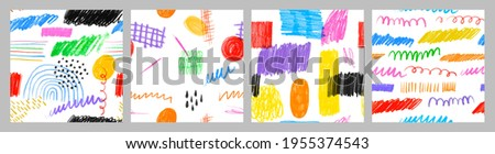 Colorful children pencil doodle seamless pattern set. Childish freehand scribble and hand drawn crayon shapes background collection.
