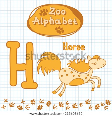 Colorful children\'s alphabet with animals, horse