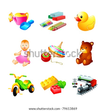 Colorful children toy, tool and model icons