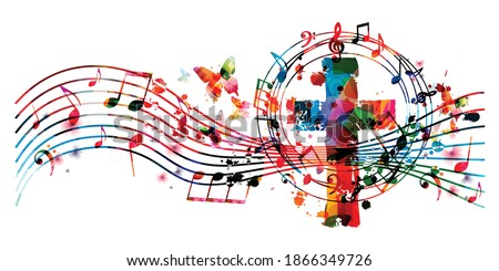 Colorful christian cross with musical notes isolated vector illustration. Religion themed background. Design for gospel church music, choir singing, concert, festival, Christianity, prayer Stock photo ©