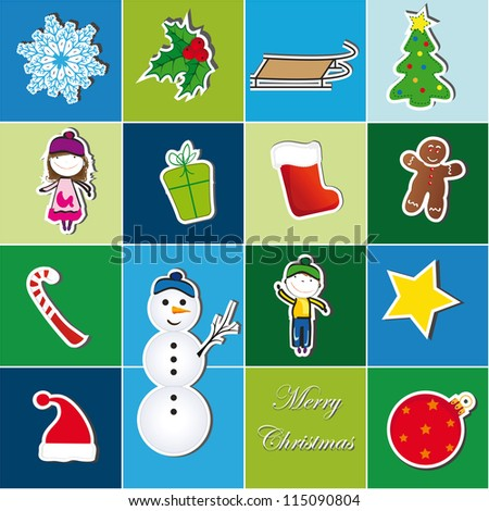 Colorful Christmas background with Christmas symbol - stock vector