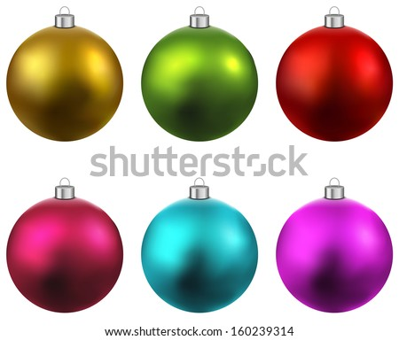 colorful christmas balls set