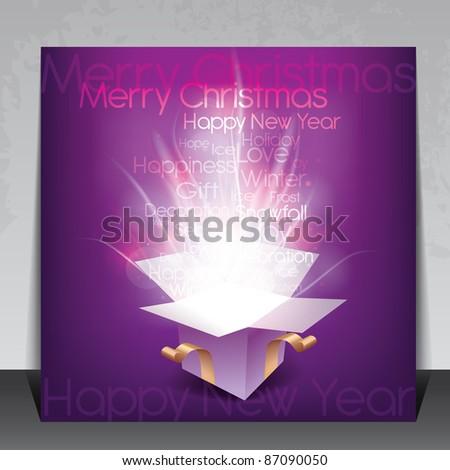 Colorful Christmas card with magic gift box and seasonal words