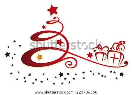 Colorful Christmas decoration christmas tree and stars