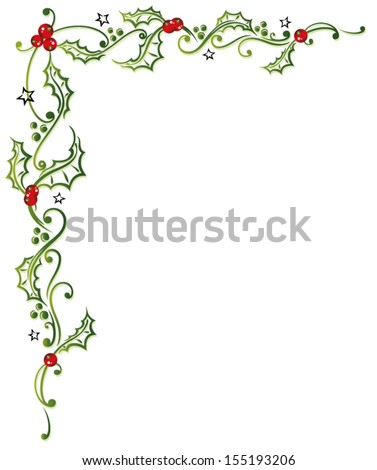 Colorful christmas decoration, holly and bells.