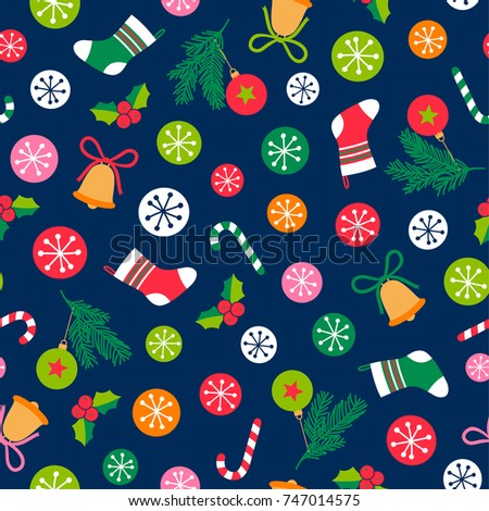 Colorful christmas elements seamless pattern background